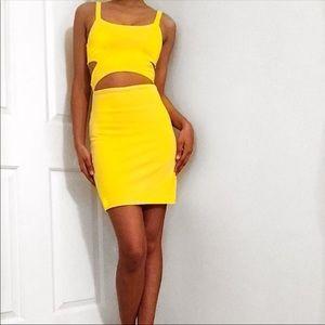 ZARA Super sexy cutout yellow dress